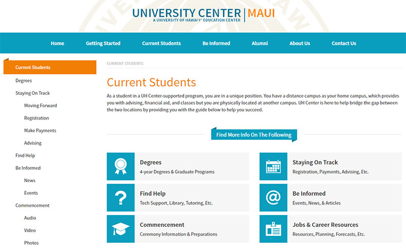UH Center Maui - web design sub page
